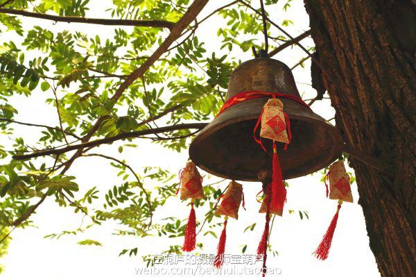 村口一棵古树,古钟上面绑了福袋.