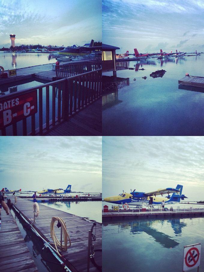 早上的水飞机场~ 马尔代夫的水飞一般有两个航线