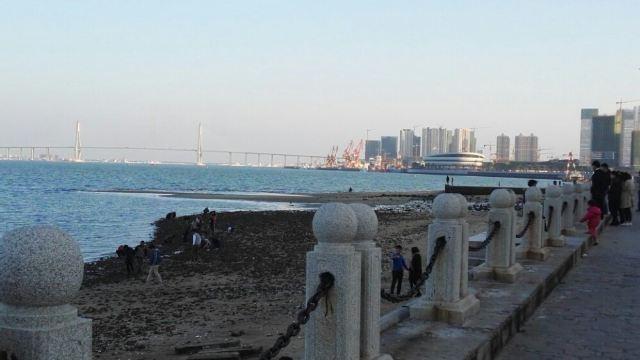 湛江应该是中国空气质量最好的城市之一,常常占据中央气象台公布的空气质量排行榜前三。金沙湾是湛江最美的海湾,夏天可以游泳,浴场很大,休闲躺椅在大大遮阳伞下排列整齐,成为沙滩的一道风景。海滨大道两旁四季鲜花盛开,体育雕塑气势如虹,来此前还有沙雕展,只是有点晚了,有些破损有些遗憾。现在不是夏季无法下海游泳,只有看着海面上沙鸥翔集,对岸坡头的奥林匹克场馆,海湾大桥以及五星级的希尔顿酒店,相映成趣。特别是希尔顿酒店像两只船帆,鼓足准备远航。
