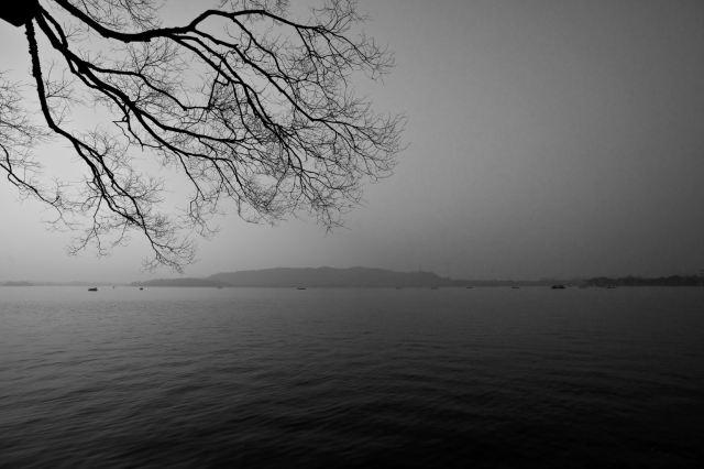 宏村黑白手绘风景图片